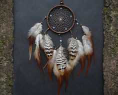 Dreamcatcher with opalite gemstones and natural feathers