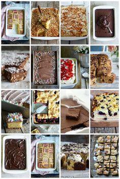 en oversikt over 13 gode og ukompliserte langpannekaker. Norwegian Cake Recipe, Just Cakes, Cake Recipes, Cereal, Muffins, Baking, Breakfast, Desserts, Food