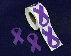 Large Purple Ribbon Stickers Wholesale, Cancer Awareness Stickers