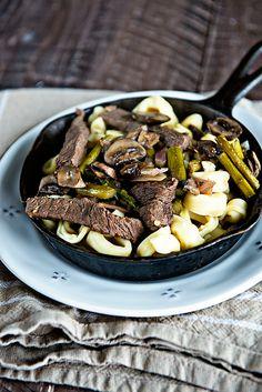 Weekly Menu Plan Skillet Steak Tortellini and Veggies from dineanddish.net