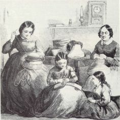 Women And Girls Sewing For The Metropolitan Fair, NY, 1864, Barbara Brackman's MATERIAL CULTURE