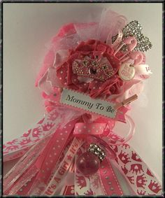 Pink Princess Corsage Mom To Be Baby Shower Corsage Pink Princess Theme Shower Princess Theme Baby Shower on Etsy, $26.00