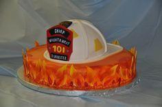 Fireman Helmet Retirement Cake - Fondant fireman helmet with fondant flames.