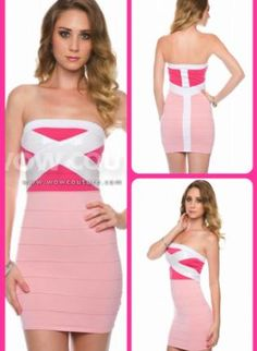 Pink Cocktail Dress - Pink and White Bandage Dress
