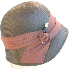 Brown Straw Cloche Hat- Women- Spring Fashion- Spring Accessories-... ($240) ❤ liked on Polyvore featuring accessories, hats, brimmed hat, summer cloche hat, cloche hats, straw cloche hat and flapper cloche hat