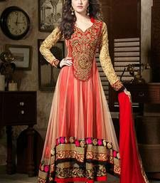 Buy RED embroidered georgette semi-stitched salwar with dupatta anarkali-salwar-kameez online