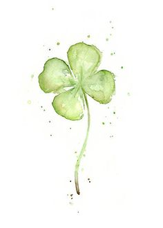 Four Leaf Clover Watercolor by OlechkaDesign | Plenty Tattoo ...