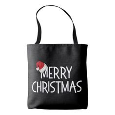 Merry Christmas Whimsical Santa Hat on Black Tote Bag - merry christmas diy xmas present gift idea family holidays