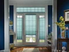 Blue Window Roller Shades For Door And Transom Combined With Blue Painted Wall As Well As Fabric Shades For Doors Also Wood Door Blinds. Beautiful Style Design Of Shades For French Doors. Maleeq Decor Inspiring Home Interior & Decoration Ideas French Doors With Sidelights, Sidelight Windows, Shades For French Doors, Door Window Treatments, Window Coverings, Honeycomb Shades, Cellular Shades, Cellular Blinds, Custom Drapes