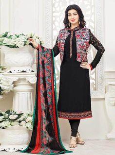 Ayesha Takia Black Crepe Churidar Salwar Suit With Jacket 89635