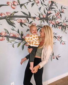 This neutral bedroom wallpaper is perfect for a kids bedroom wall. This peach bedroom wallpaper is a fruit accent wall, perfect for a gender neutral nursery idea! This peach wall decor is a neutral accent wall from anewall decor of the sweetest peaches. peach wallpaper, gender neutral wallpaper, kids wallpaper. #peachwallpaper #kidswallpaper #neutralnursery