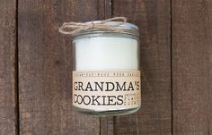 Grandma's Cookies Wood Wick Candle Vegan soy wax by Whiskey Wicks. Cookie recipe:  Inspired by: Placer County, CA Smells like: snickerdoodles  1 c butter 1 1⁄2 c sugar 2 eggs 2 3⁄4 c flour 2t cream of tartar 1t baking soda 1⁄4 t salt 3T sugar 3t cinnamon  recipes cookies chocolate chips sweets dessert snickerdoodles
