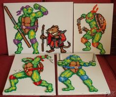 Teenage Mutant Ninja Turtle Canvasses.TMNT.Game Gaming TV Bead Sprites Handmade