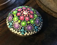 Hand Painted Mandala Stone in Green, Purple, Pink, Blue and White