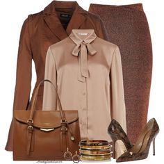 Office Wear-Browns by honkytonkdancer on Polyvore featuring moda, M&S Collection, AMY GEE, River Island, Dsquared2, Fiorelli, Ashley Pittman, officewear and fallfashion