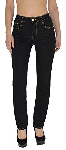 d86cbdcaa270 Jean femme pantalon en jean femme Jeans taille haute noir et bleu – grande  taille 36