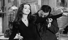 my gif gif * vintage horror the addams family carolyn jones Gomez Addams Morticia Addams John Astin Addams Family