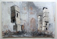 Anselm Kiefer, oil, emulsion, shellac, lead, soil and photographic paper laid down on board in two parts, 39 3/8 by 59 inches, 2006