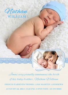 Baby Birth Announcement Boy or Girl and Sibling by 3PeasPrints, $18.00