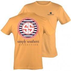 Simply Southern Logo tee on squash (pale orange) t-shirt.  #simplysouthern #shopblooming #logotee #only$12