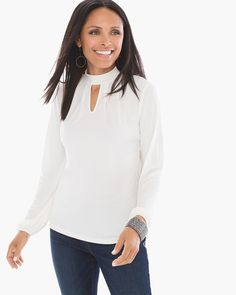 """A double keyhole neckline takes the detail up a notch on this long-sleeve top with sophisticated pleating.    Long sleeves.  Back button closure.  Length: 25"""".  Polyester, spandex.  Machine wash. Imported."""