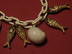 40s 50s Vintage FISH And SEASHELL Bracelet 1950s by Flipsville, $35.00