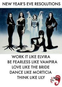 Elvira, Vampira, Bride of Frankenstein,  Morticia Addams, Lily Munster