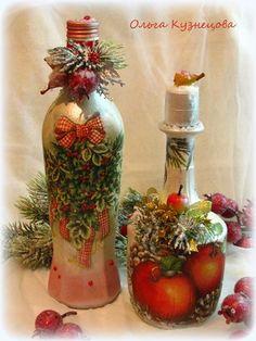 "Photo from album ""Ручная работа on Yandex. Recycled Glass Bottles, Glass Bottle Crafts, Wine Bottle Art, Christmas Decoupage, Christmas Crafts, Christmas Decorations, Decoupage Art, Decoupage Vintage, Pot Mason"