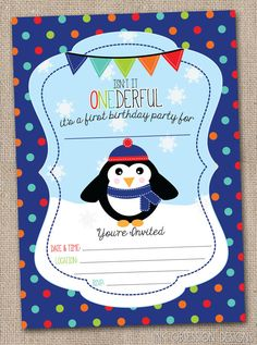 Instant Download First Birthday Party Invitation Penguin and Winter Snowflakes Printable PDF Fill in the Blank Invite