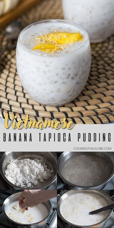 Who doesnt love homemade pudding? This simple recipe brings a tropical twist with mango bananas coconut milk and tapioca pearls. Its a sweet and refreshing dessert you will want to make time and time again. Coconut Tapioca Pudding, Tapioca Dessert, Milk Dessert, Coconut Milk, Vietnamese Tapioca Pudding Recipe, Pavlova, Vietnamese Dessert, Vietnamese Food, Korean Food