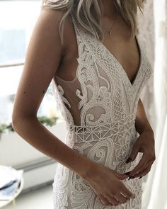 85 Stunning wedding dresses with amazing details, lace wedding dress,long sleeves wedding dress,deep plunging neckline wedding dress,heavy embellishment wedding dress Totally Unique Fashion Forward Wedding Dresses Stunning Wedding Dresses, Wedding Dress Styles, Dream Wedding Dresses, Wedding Gowns, Wedding Outfits, Wedding Dress Necklines, Wedding Dress Sleeves, Lace Dress, White Dress
