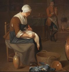 "Detail of ""Interior of a kitchen with a maid plucking geese."" Attributed to Justus Juncker (1703 - 1767), German artist."