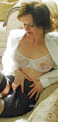 Sheer, white lace bra and black panties....