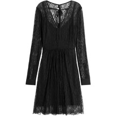 McQ Alexander McQueen Lace Dress (€520) ❤ liked on Polyvore featuring dresses, black, v neck dress, slip dress, slimming cocktail dresses, slimming dresses and goth dresses