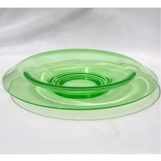 Rolled Edge Console Bowl Green Depression Glass 13 inches Vtg