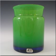Aseda Swedish Green Cased Glass Vase #9/321 - Labelled - £40.00