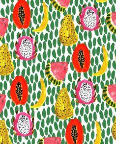 Fruit Patterns - Bouffants & Broken Hearts. http://obus.com.au/