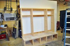 DIYPete shows you how to build a customizable storage hutch. Home Diy, Home, Locker Storage, Mud Room Storage, House, Mudroom Lockers, Home Projects, Convert Garage To Bedroom, Diy Locker
