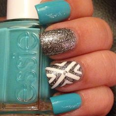 essie turquoise with white and grey patterns