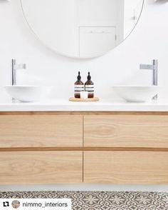 #Repost @nimmo_interiors with @repostapp ・・・ Stunning ensuite at the Waratah st project. Bespoke vanity in American Oak. Basins and mixer taps @reecebathrooms encaustic tiles @tiles_by_kate @jatanainteriors photography #bathroom #vanity #americanoak #jatanainteriors #interiordesign #interiors #encaustictiles