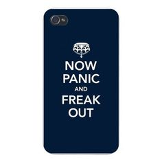 Apple Iphone Custom Case 4 4s Plastic Snap on - Keep Calm Humor 'Now Panic and Freak Out'