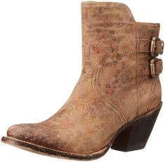 Lucchese Bootmaker Women's Catalina-Brown Floral Printed Shortie Ankle Bootie, Brown, 7.5 B US
