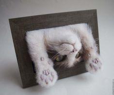 Купить Кот Наоборот Картина панно из шерсти - лапки, кот, котик, коты и кошки
