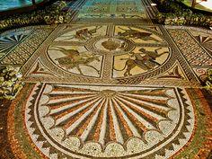 The beautiful 4th century Orpheus mosaic at Littlecote Roman Villa in Wiltshire