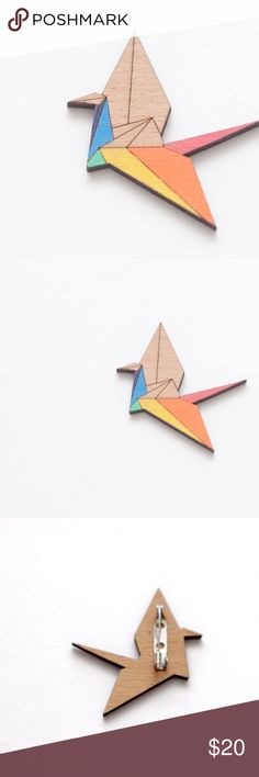 HandColored Wooden Origami Crane Rainbow Pride Pin Hand colored on laser cut wood, paper crane pin. **Please message me for custom colored pins. Jewelry Brooches