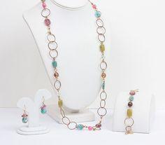 Pink Olive Teal Necklace Set Bracelet Earrings by PastSplendors