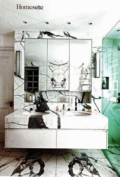 Veined marble bathroom