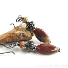 Jasper and Chalcedony Earrings, Earthy Red and Brown Natural Stone Earrings, Antiqued Silver, Rustic, Elegant #PebblesatMyFeet