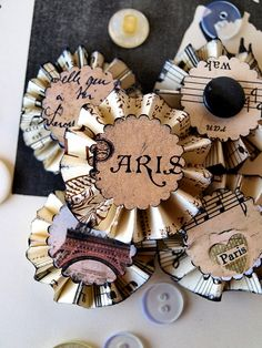 by Noelle Garrett Designs----Buttons, paper and Paris.does it get better? Paper Rosettes, Paper Flowers, Paper Pinwheels, Felt Flowers, Paper Medallions, Paper Art, Paper Crafts, Diy Crafts, Candy Cards