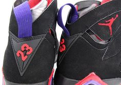 Air Jordan VII Black True Red Dark Charcoal Club Purple. Was in love with these back in high school